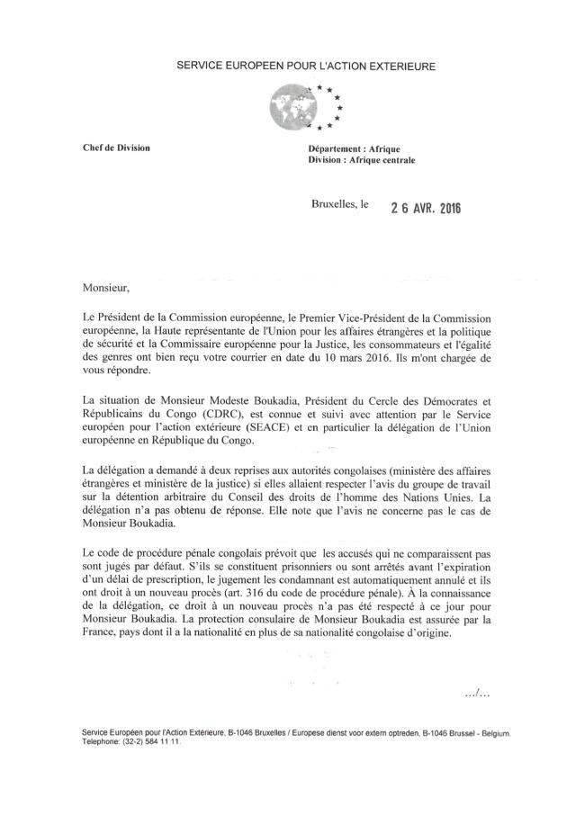 1, Mme Notarangelo a rappelé que l'emprisonnement des membres du CDRC est une violation aux droits de l'Homme.