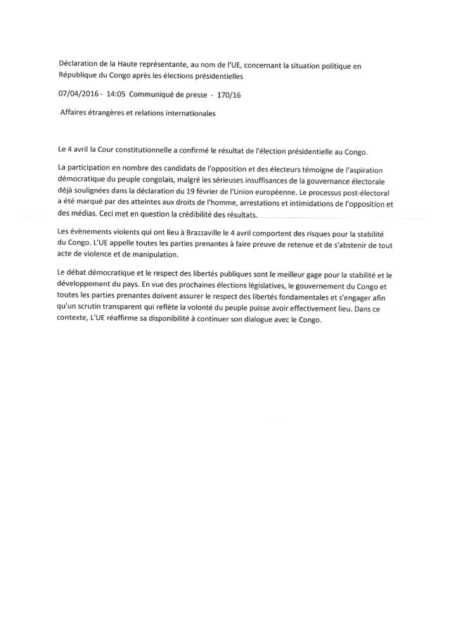 Mme Notarangelo a rappelé que l'emprisonnement des membres du CDRC est une violation aux droits de l'Homme.
