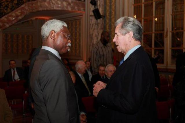 Modeste Boukadia en compagnie de Jean-Louis Debre, ancien president de l'Assemblee Nationale.
