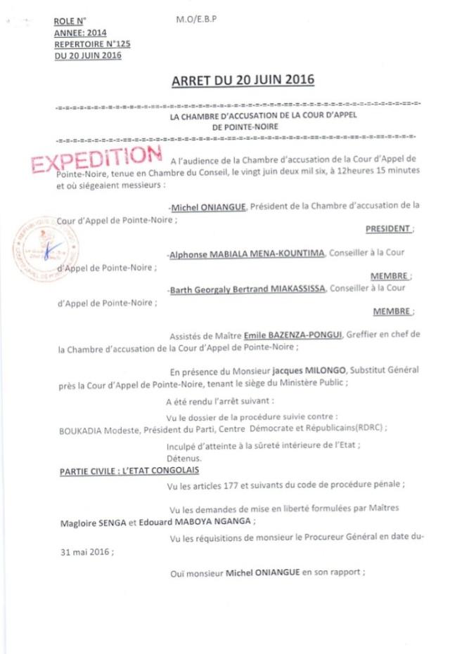 Arrêt du 20/06 2016 sur la liberation conditionnelle de M. Boukadia