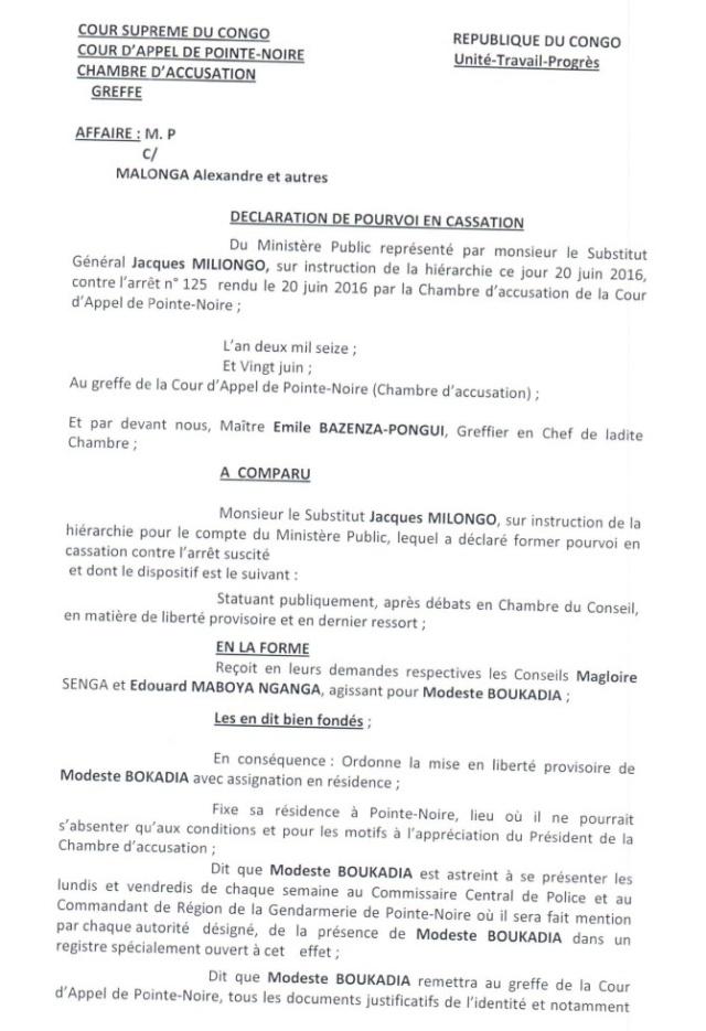 Pourvoi en Cassation du Ministre Pierre Mabiala contre la Libération du Président Modeste Boukadia
