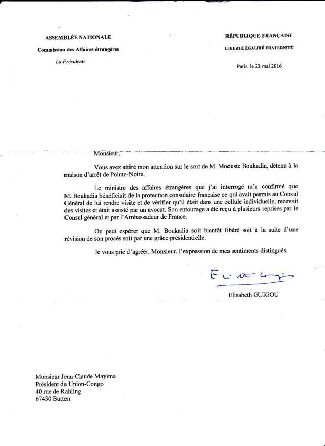 Lettre de Mme Elisabeth Guigou, Presidente de la Commission des Affaires Etrangeres