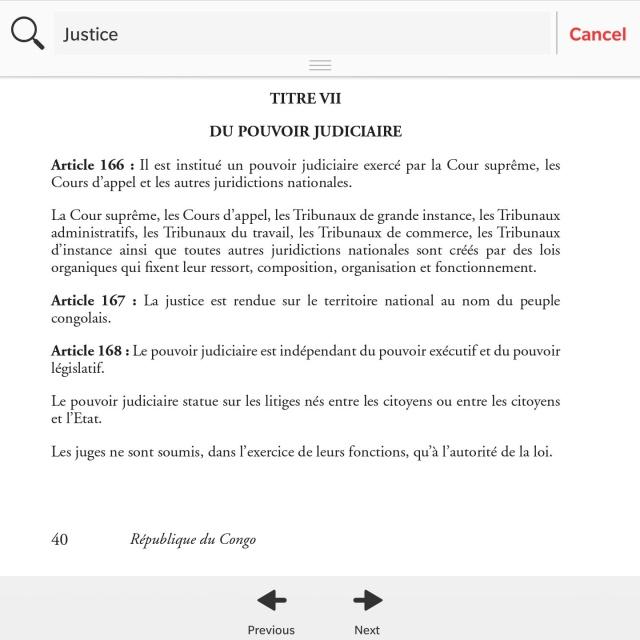 L'Article 167 de la Constitution du Congo 2015 stipule que le Pouvoir Judiciaire est indépendant de l'exécutif. Principe violé par Pierre Mabiala en empêchant la liberation du President Modeste Boukadia