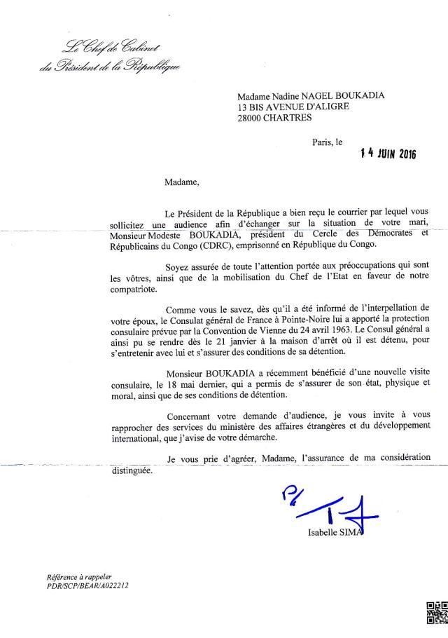 La Presidence de la Republique Francaise suit de très près la situation de Modeste Boukadia ainsi que des prisonniers politiques du CDRC au Congo Brazzaville.