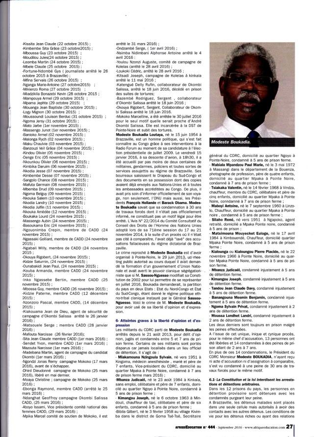 Afrique Education - Les membres du CDRC de Modeste Boukadia en prison