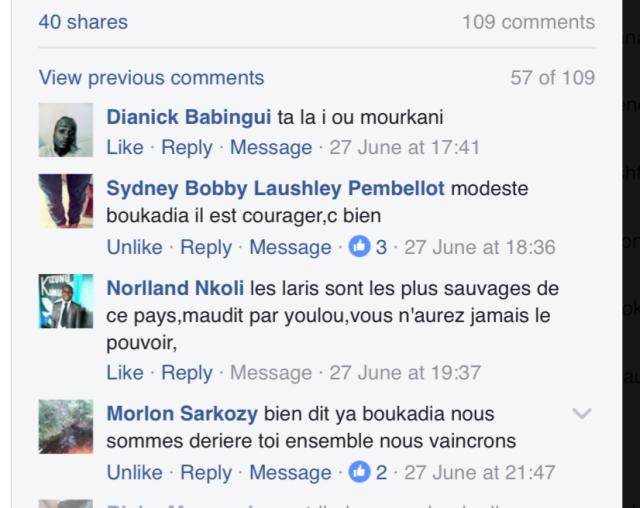 Message de Haine Anti populations du Sud Congo dans les réseaux sociaux.